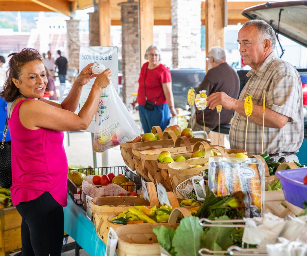 woman buying apples from a farmer's market